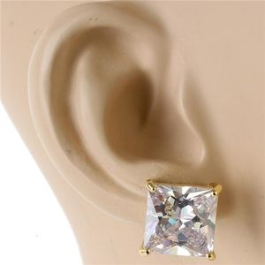 Gold 12 mm Crystal Cubic Zirconia Square Earrings